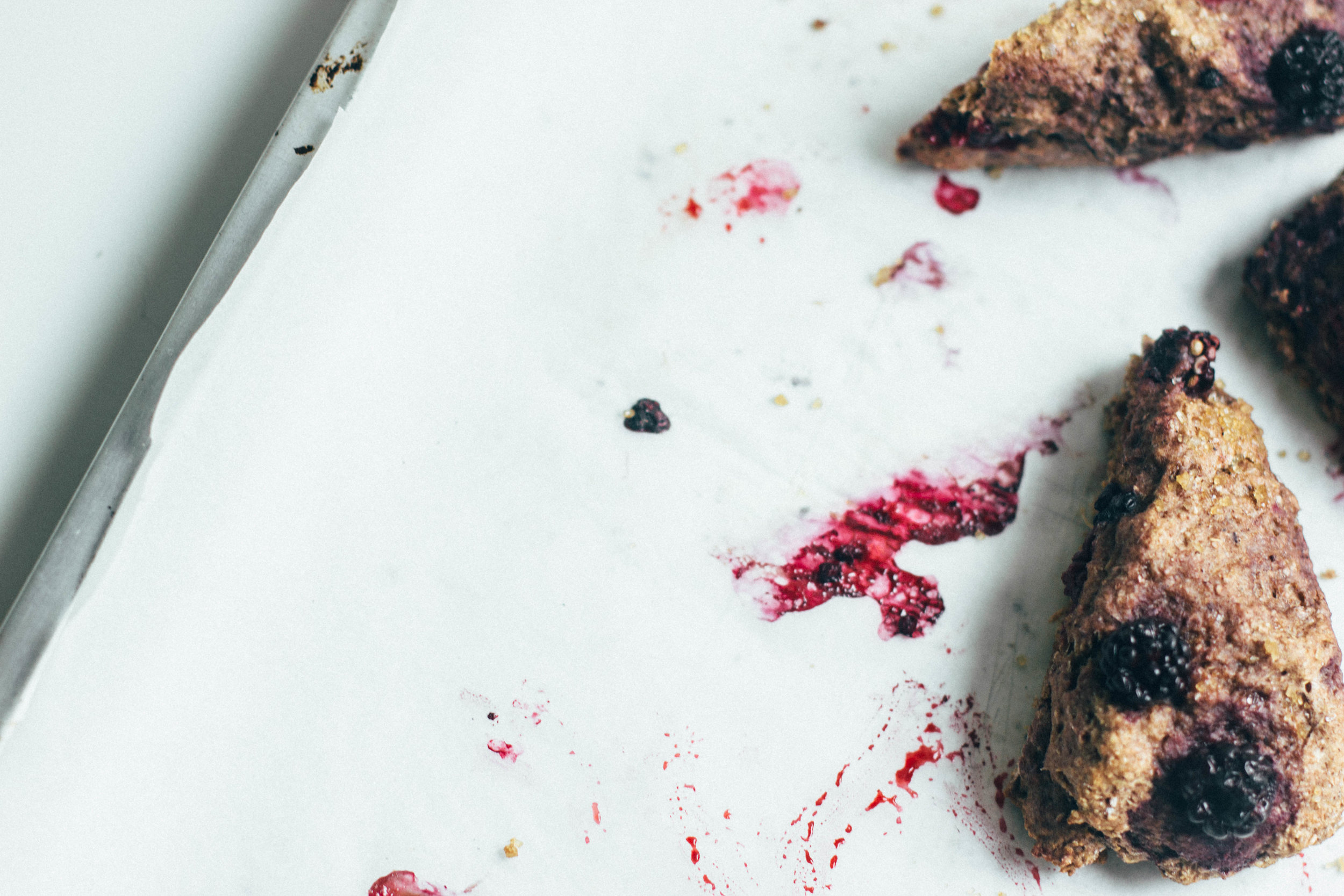 nutmeg and pear | healthy spelt scones w/ blackberries & ginger, honey sweetened + dairy free