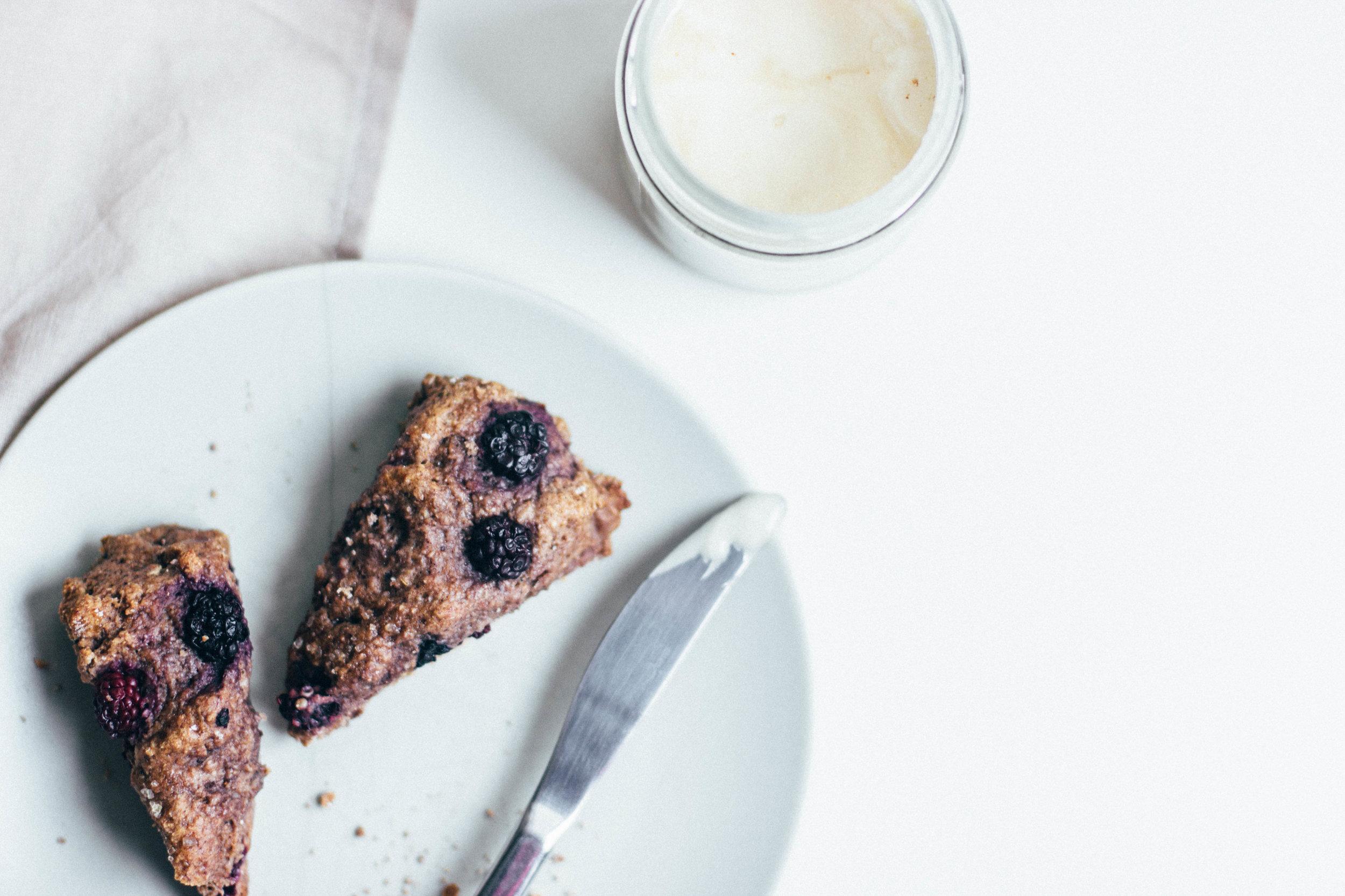 nutmeg and pear | healthy spelt scones w/ blackberries & ginger, honey sweetened + dairy free