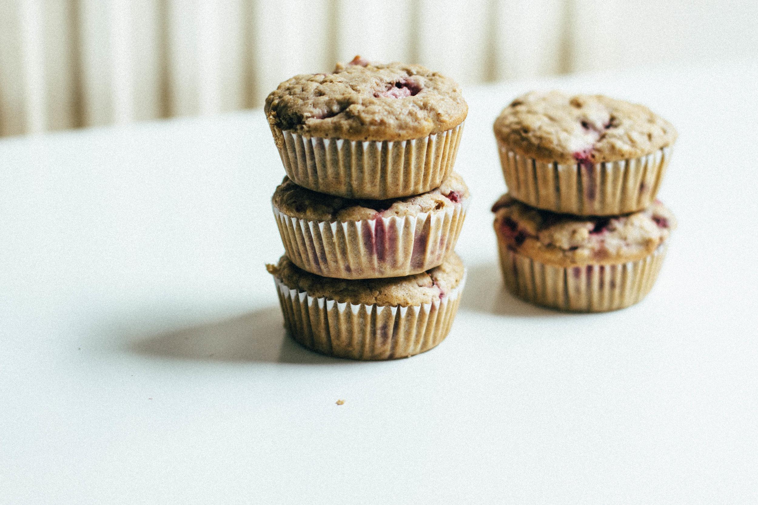 strawberry - oat muffins