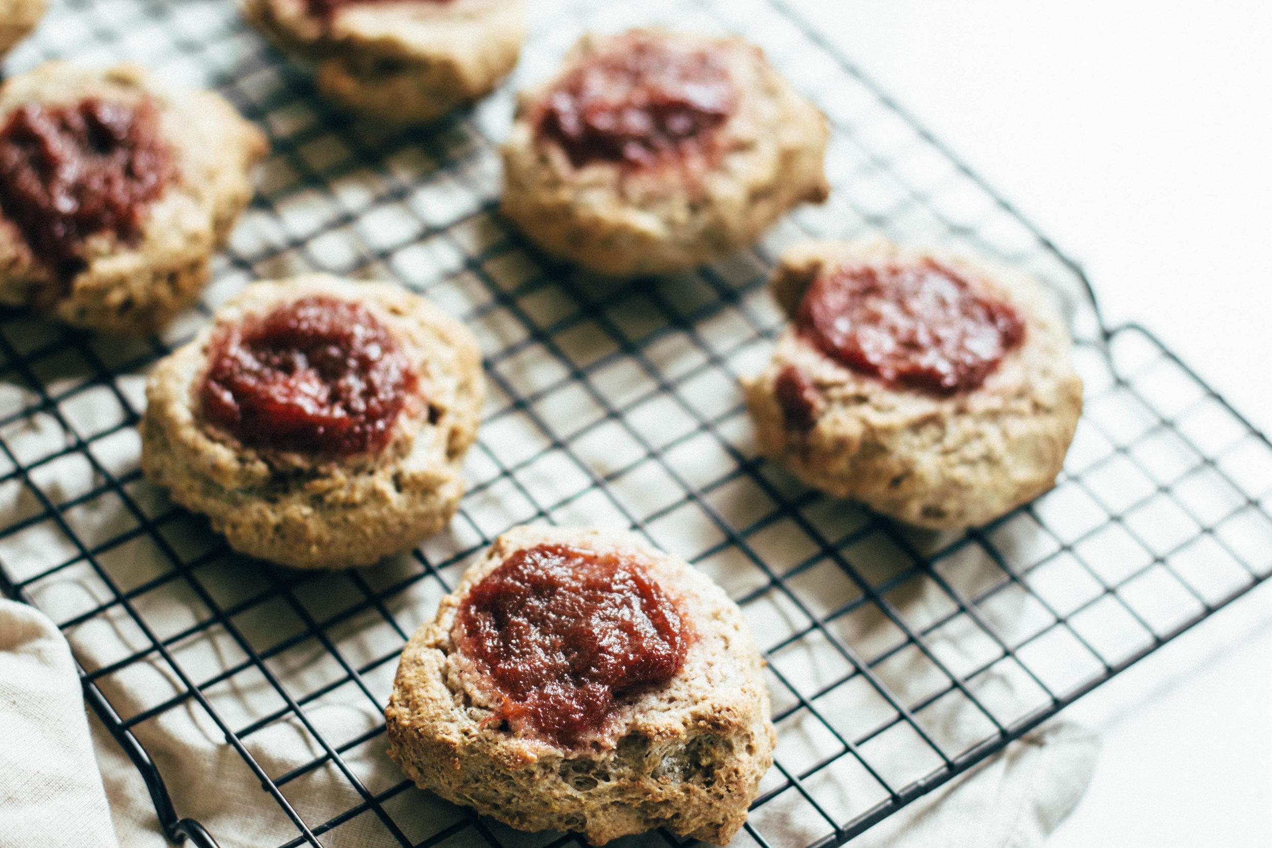 strawberry-rhubarb jam scones