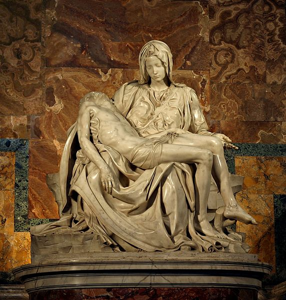 Pietà, 1498-1499. Michaelangelo. Image from Wikimedia Commons, uploaded by Stanislav Traykov.