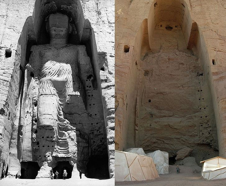 The taller of the Buddhas of Bamiyan, before and after destruction. From Wikimedia, photos by A. Lezine and Carl Montgomery.