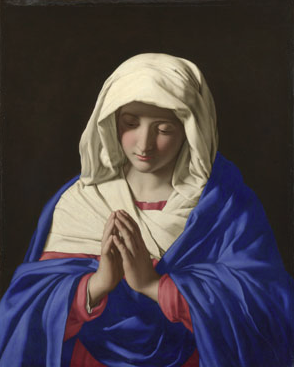 The Virgin in Prayer, 1640-50, by Sassoferrato.  National Gallery , UK
