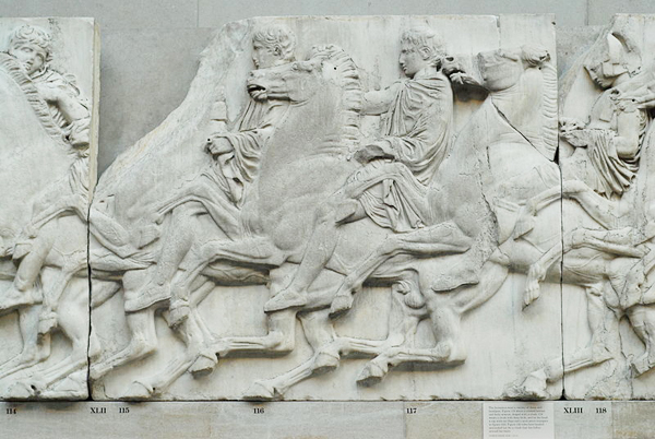 SECTION OF THE PARTHENON FRIEZE FROM THE NORTH WALL, PART OF THE BRITISH MUSEUM'S COLLECTION (IMAGE COURTESY OF TWOSPOONFULS)