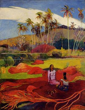 Tahitian Women Under the Palms  , by Paul Gauguin. 1892, oil on canvas, one of the oldest ways to make an image: colourful pigments in a transparent medium.