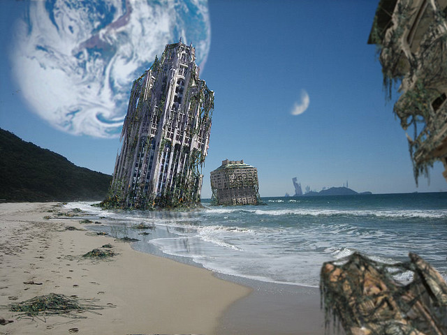 Reclaimed   © Adrian Bobb, used with permission. This beach image was created using Photoshop, in other words by painting with backlit pixels, painting with light. Make sure to visit Adrian's rewarding   science and concept art portfolio  , it's stunning.