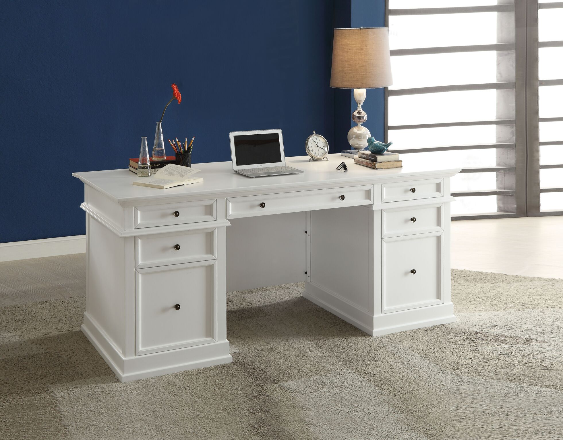 Picture of: Daiki Desk White Wooden Desk With Drawers File Cabinet Casa Bella Furniture Quality Furniture Home Goods