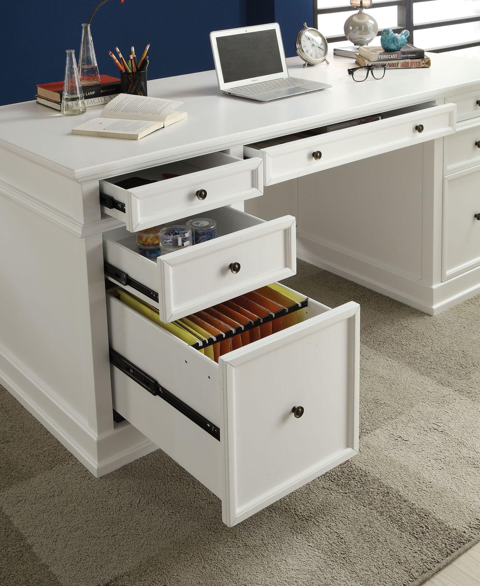 Daiki Desk White Wooden Desk With Drawers File Cabinet Casa