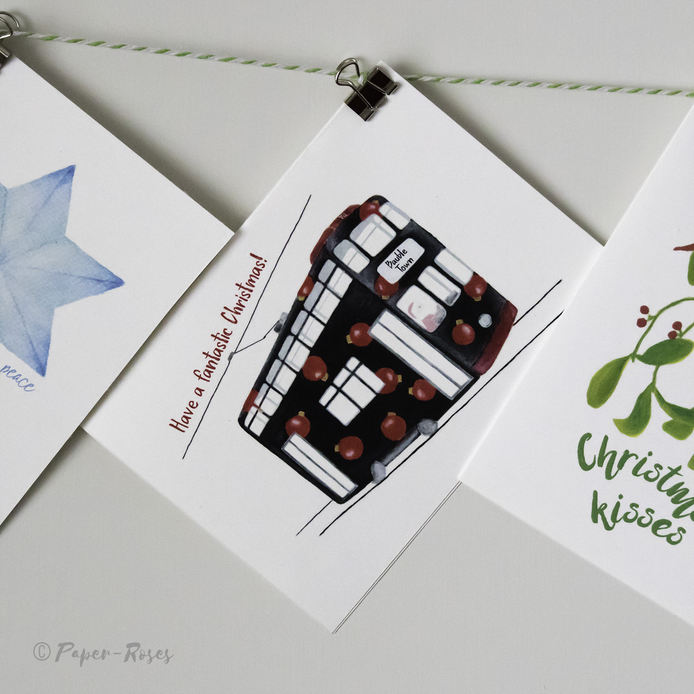 Paper-Roses | Festive shop | Hong Kong tram Christmas card