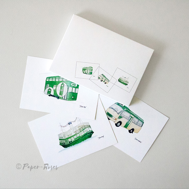 Paper-Roses | Note cards | Public transport HK style note card gift set