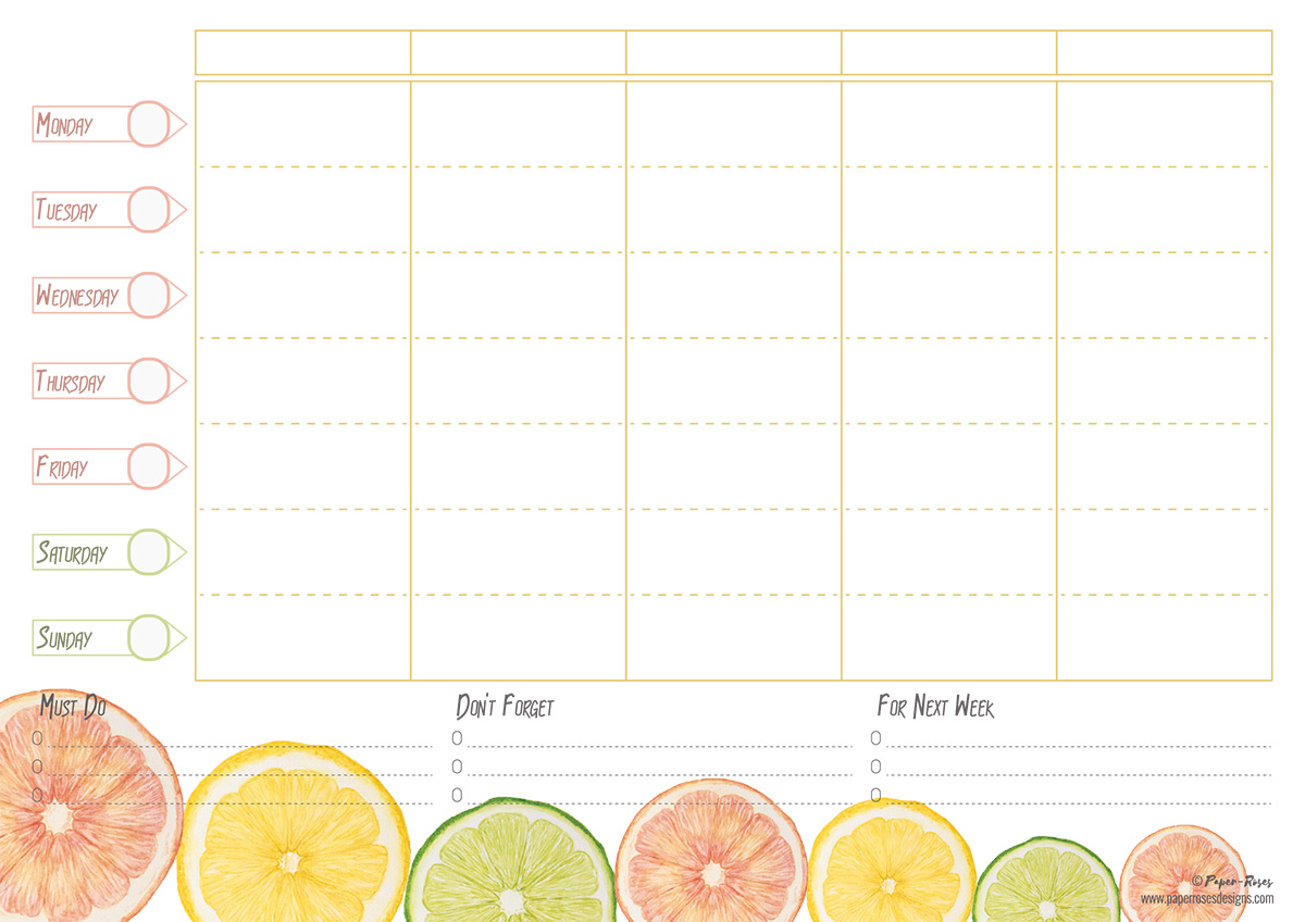 Paper-Roses | Citrus family planner (A4)
