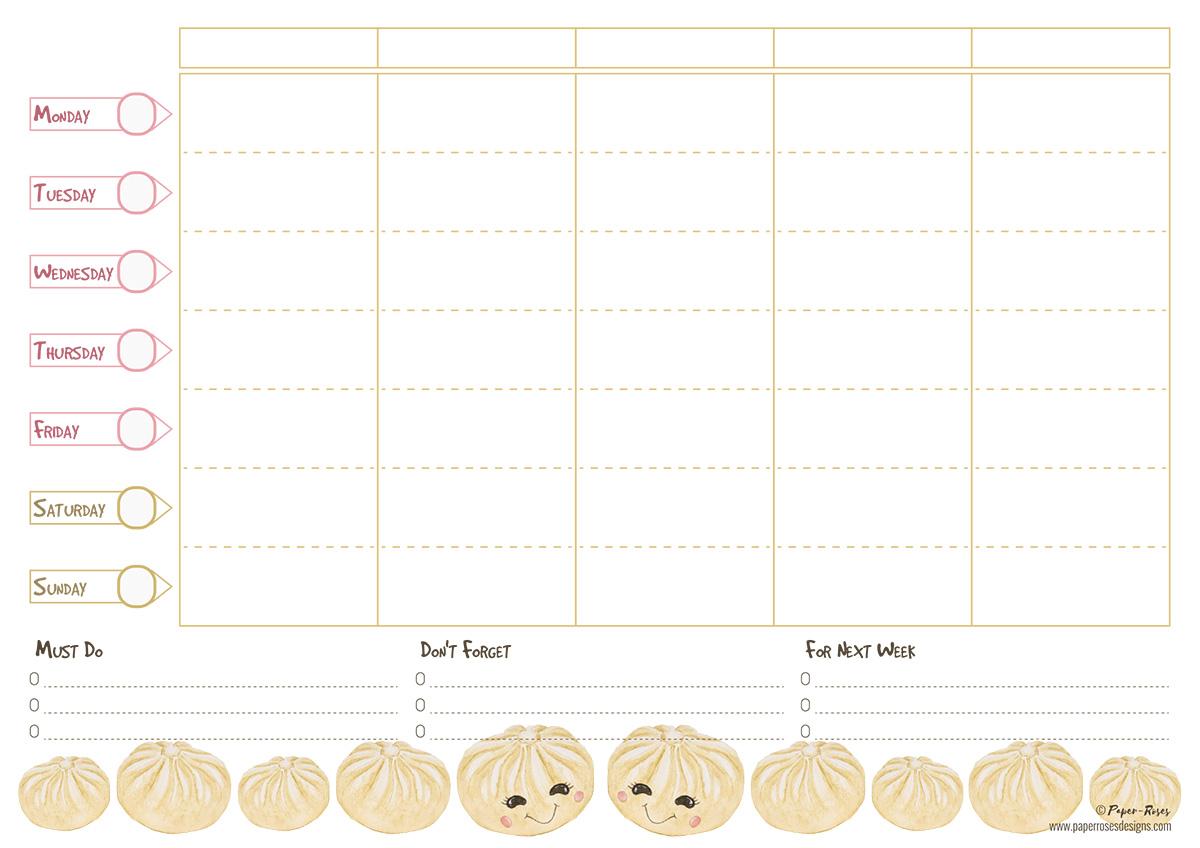 Paper-Roses | Dumplings family planner (A4)