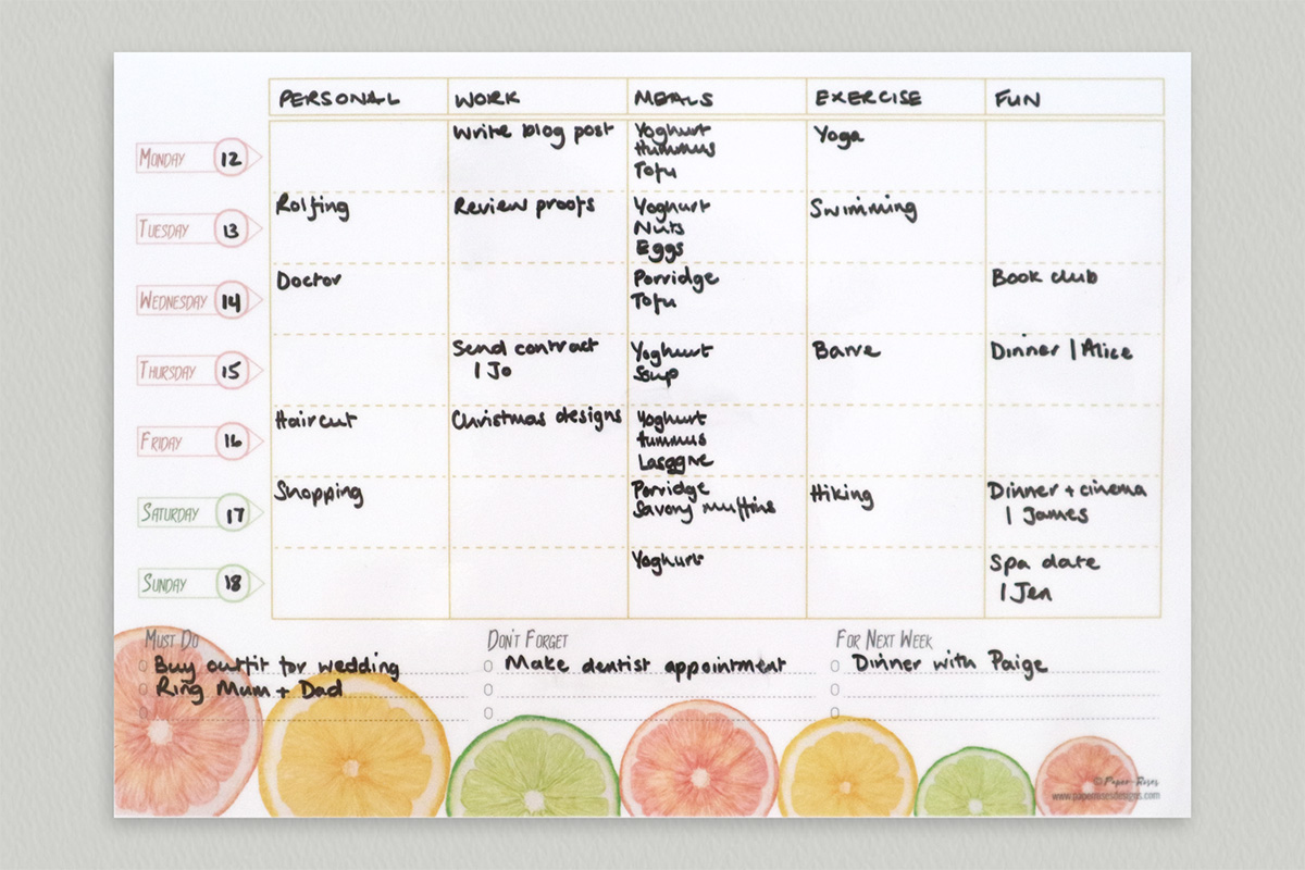Paper-Roses | Citrus family planner