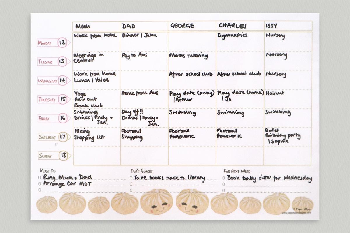 Paper-Roses | Dumplings family planner