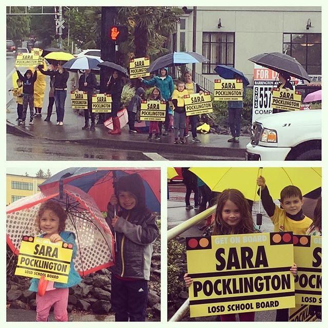 """Thank you to all of you who are """"on board"""" and came out in support of Sara all over the city today! We appreciate you!! #getonboard #sara4losd"""