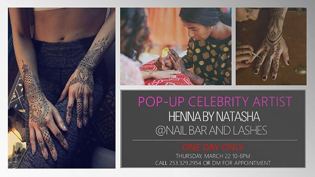 POP- UP celebrity artist!  Book your appointment TODAY ONLY with @hennabynatasha @hennabynatasha @hennabynatasha  for #henna or #lashes.  Call us at 254-329-2954 or you can DM