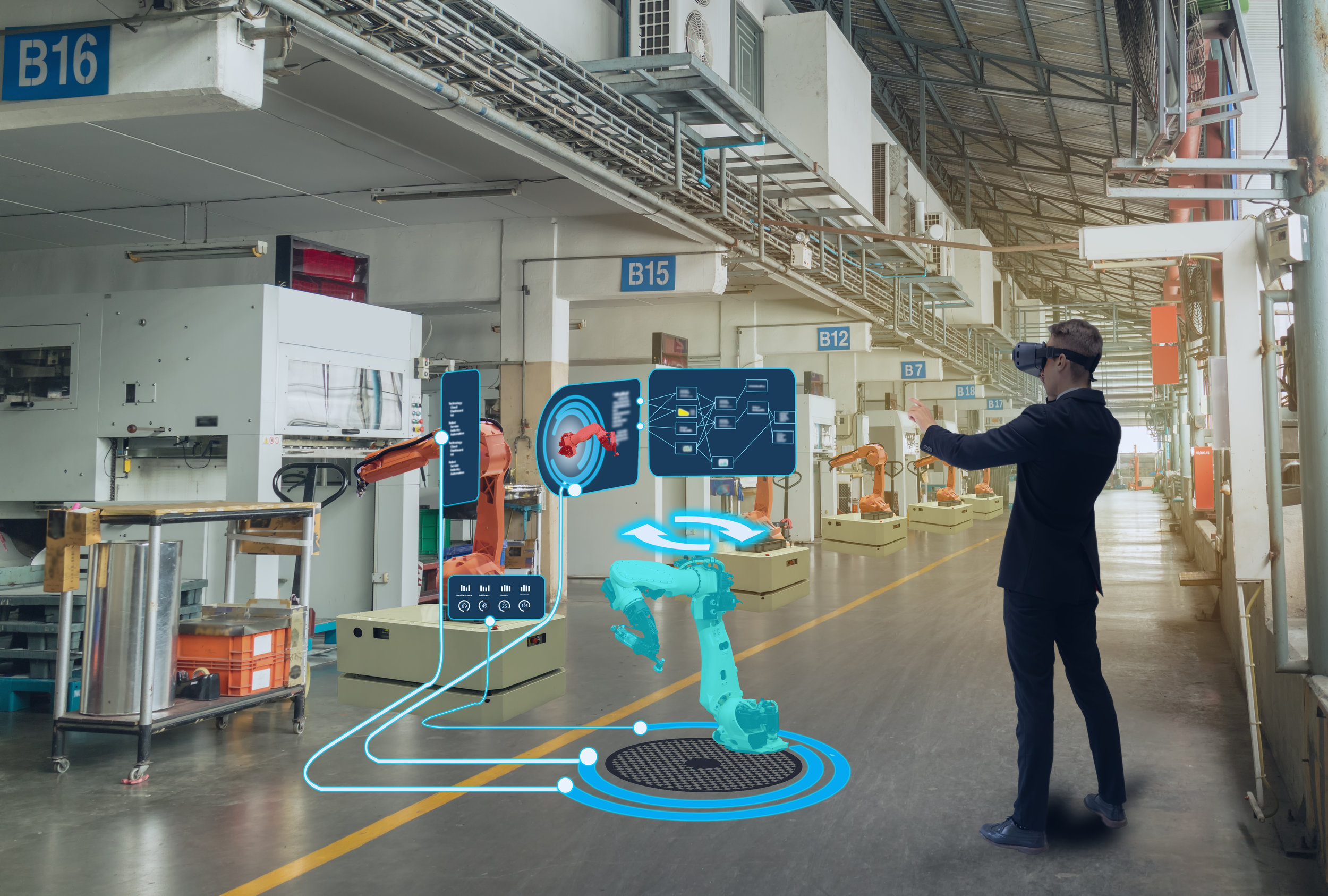 Immersive technical training - best suited to hands free mixed reality tools. This provides an overview of each technical area a worker will be working. This can include mixed reality immersion, such as virtual reality or augmented reality.