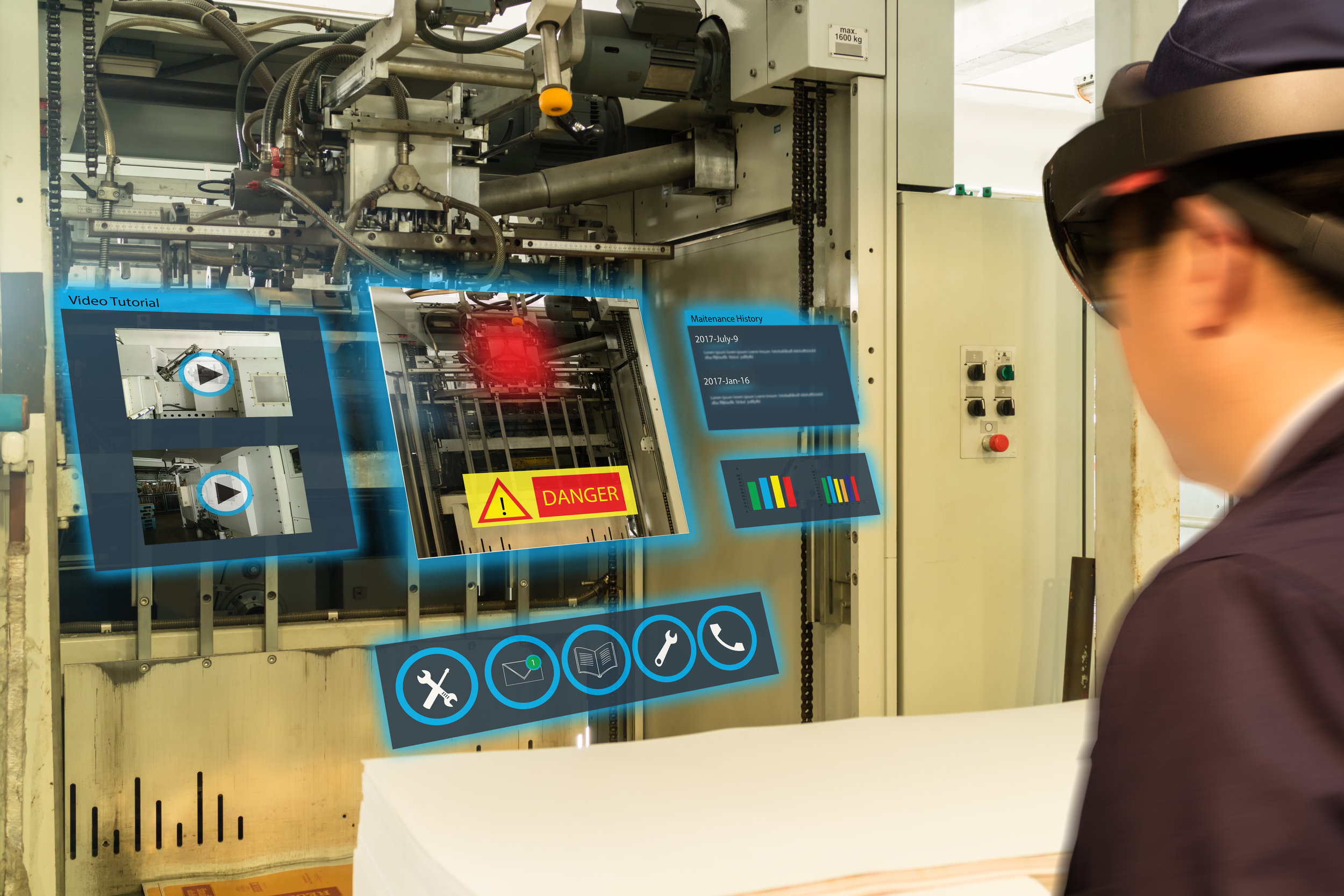 HoloLens can be used on the job to enable workers to carry out maintenance tasks whilst remaining hands-free. Other hands-free AR devices include RealWear and Google Glasses; these devices have limitations in terms of seeing the actual environment.
