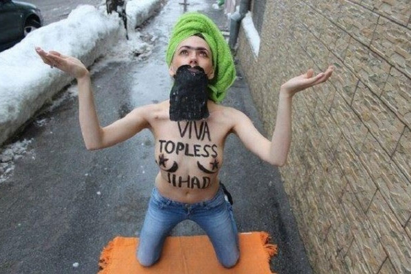 Protestor at Femen's International Topless Jihad Day