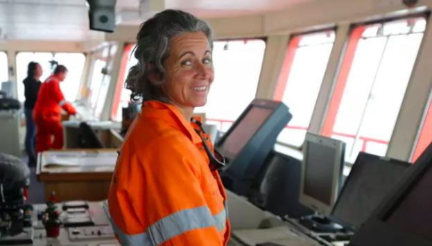 Madeleine Habib on the Aurora Australis in 2013. Photo:Colin Cosier