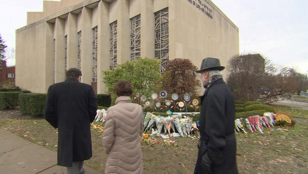 Figure 4 Memorials to the 11 victims of the mass shooting of the Tree of Life synagogue, Pittsburg on November 4, 2018.