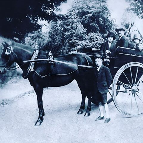 Circa 1925, Tom, our founders great grandfather and his horse he used as a carrier.