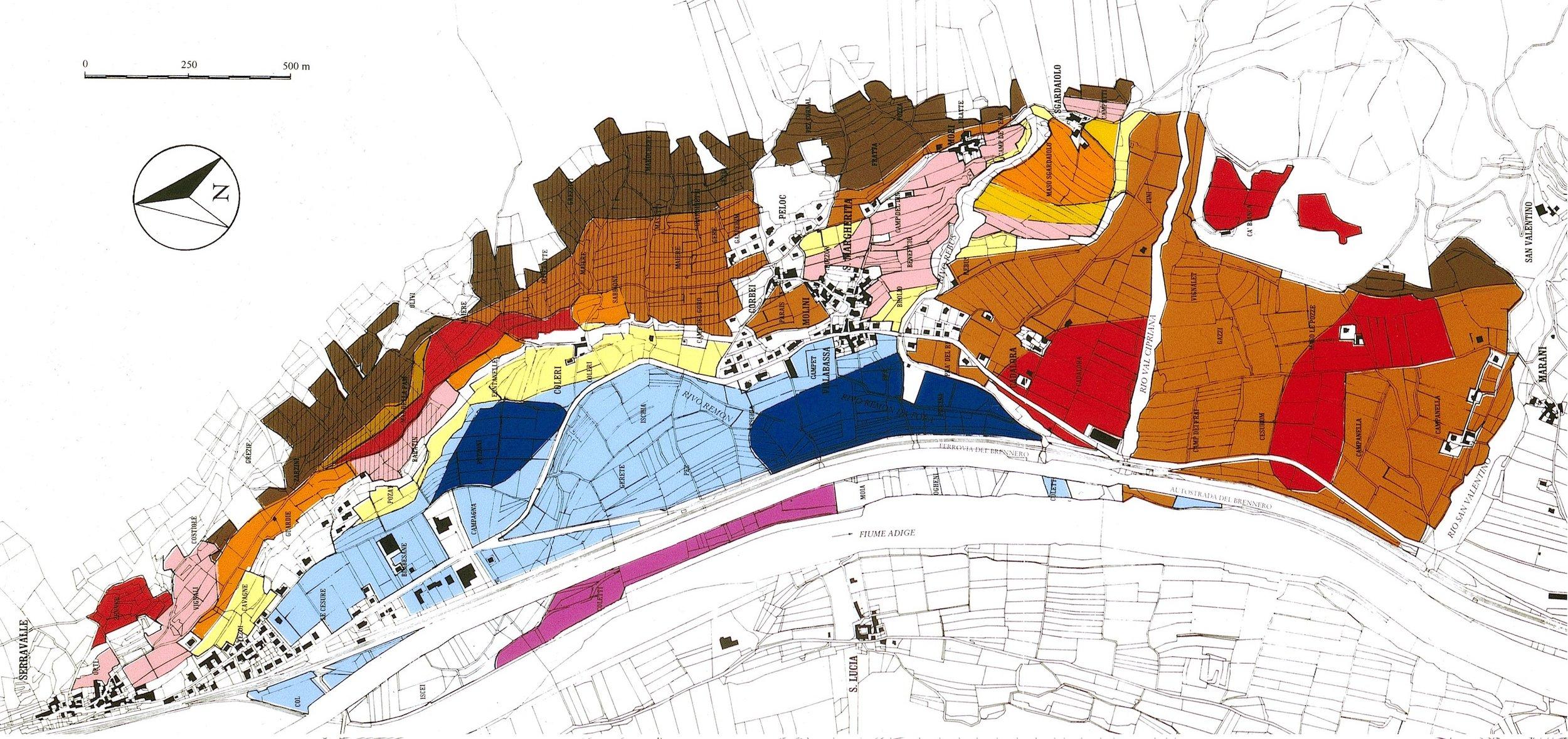 Santa Margherita d'Ala, Vallagarina, Trento - La carta dei suoli - clicca sull'immagine per ingrandirla