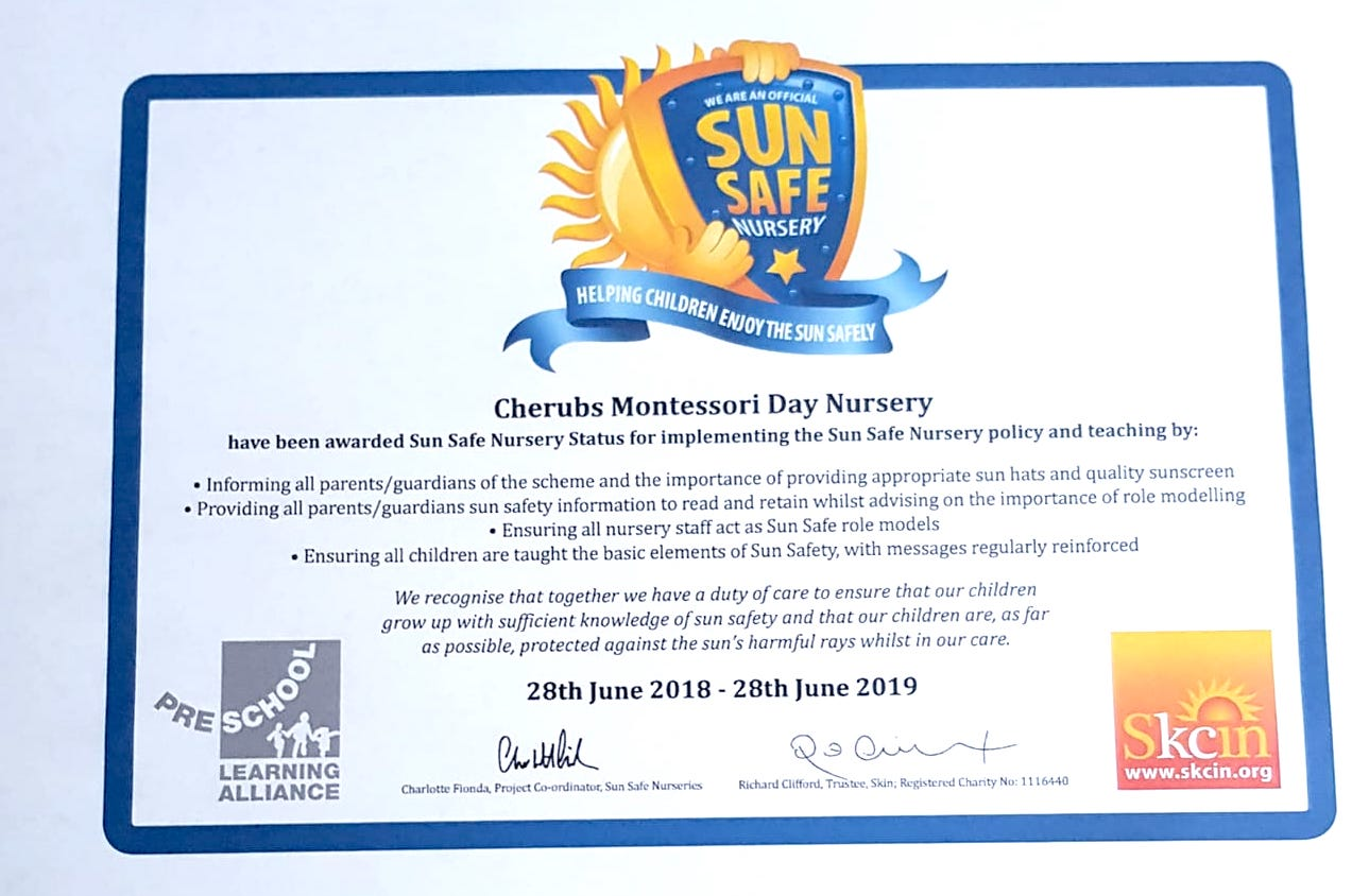 We are happy to announce we are a Sun Safe Nursery - For more information please follow this link: https://www.sunsafeschools.co.uk/