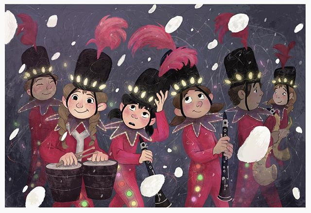 Throwing back to Southwest marching band for #childhoodweek 🎷  This is based on the Holidazzle, a Minneapolis holiday parade/Christmas light explosion. All I remember about being in the parade is that my fingers were too cold to keep up with the tempo, and I could only get a loud squawk out of the clarinet, so I just pretended I was playing the whole time instead.  #childhoodweek2018 #huionchildhood