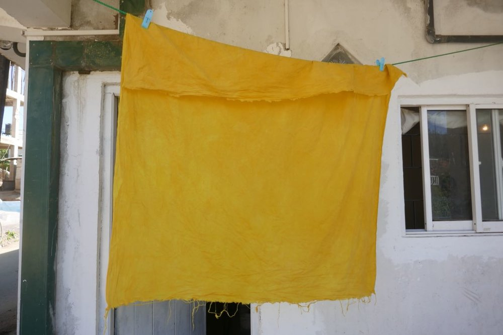 Naturally dyed fabric with turmeric