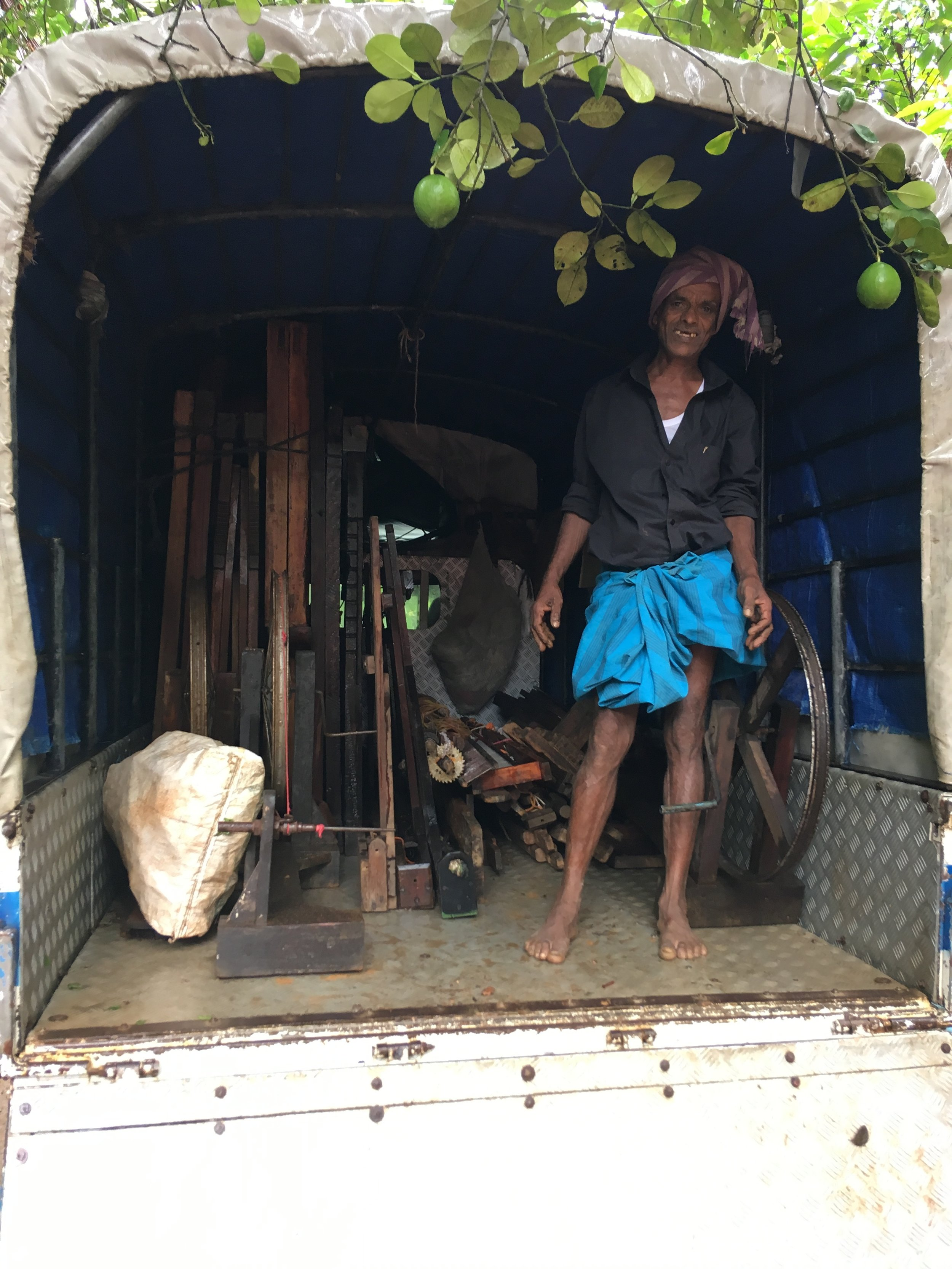 Transporting the handlooms from the jungle to the workshop