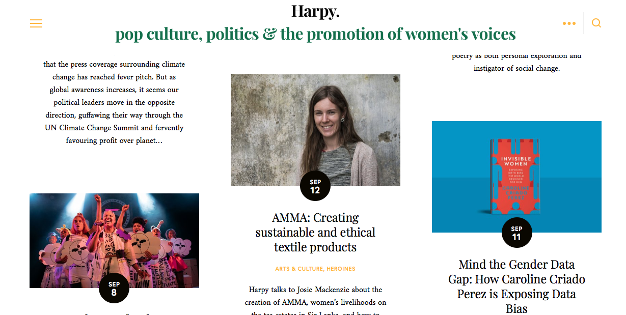 Sept 2019: Harpy Magazine - Harpy is a UK based online magazine that focuses on writing about feminist discussion and under represented voices. Josie was interviewed by Maria Osvalds at the AMMA workshop.
