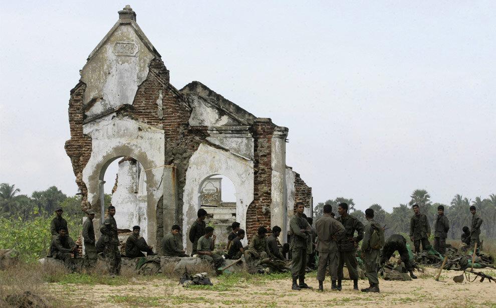 Image by Gemunu Amarasinghe of war torn church in Sri Lanka.