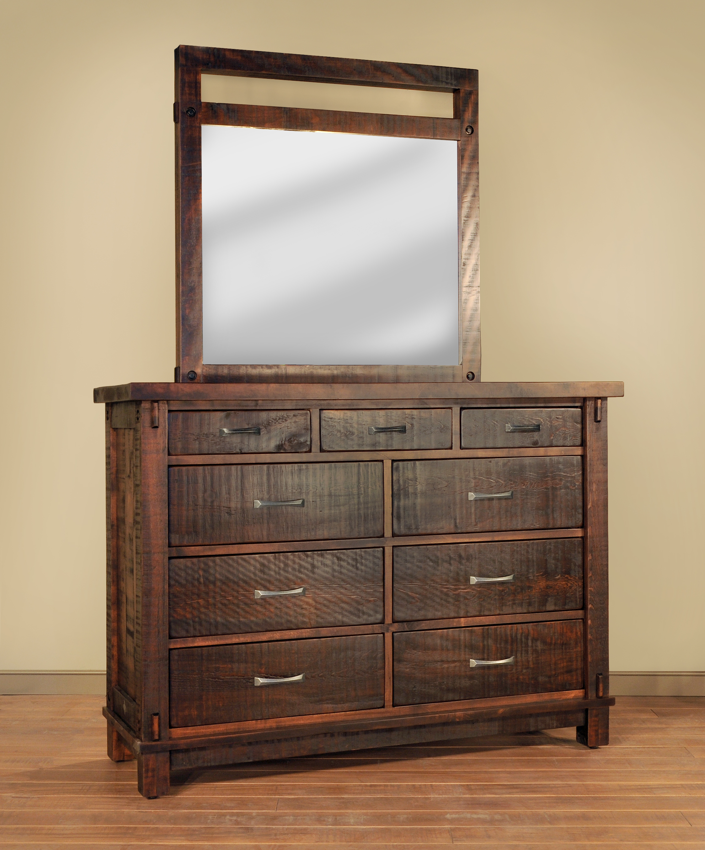 Timber dresser with mirror