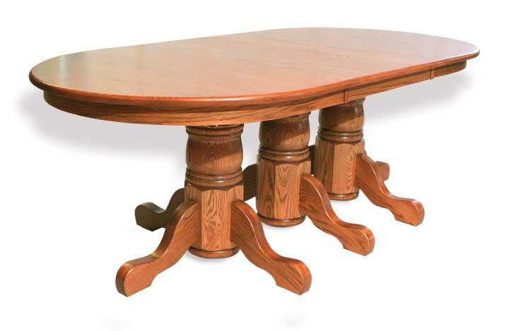 triple single pedestal table