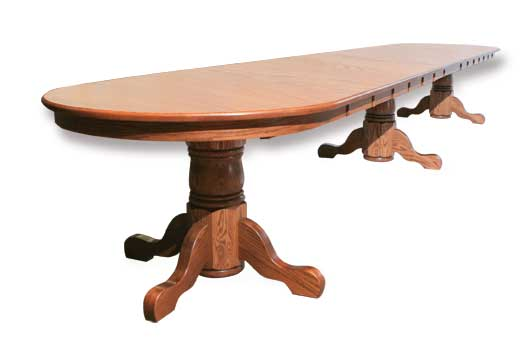 triple single pedestal extended table