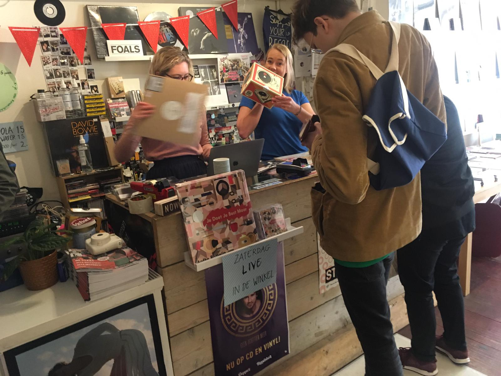 RSD mini record player being sold at  Velvet Amsterdam