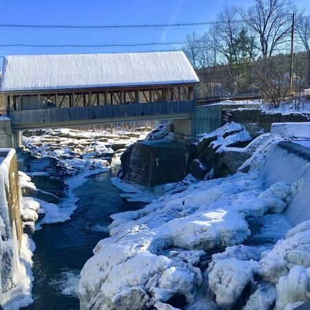 Covered bridge.  Nothing more iconic New England than a covered bridge against a wintry back drop, this one in Quechee, Vt. (Frank Rizzo)