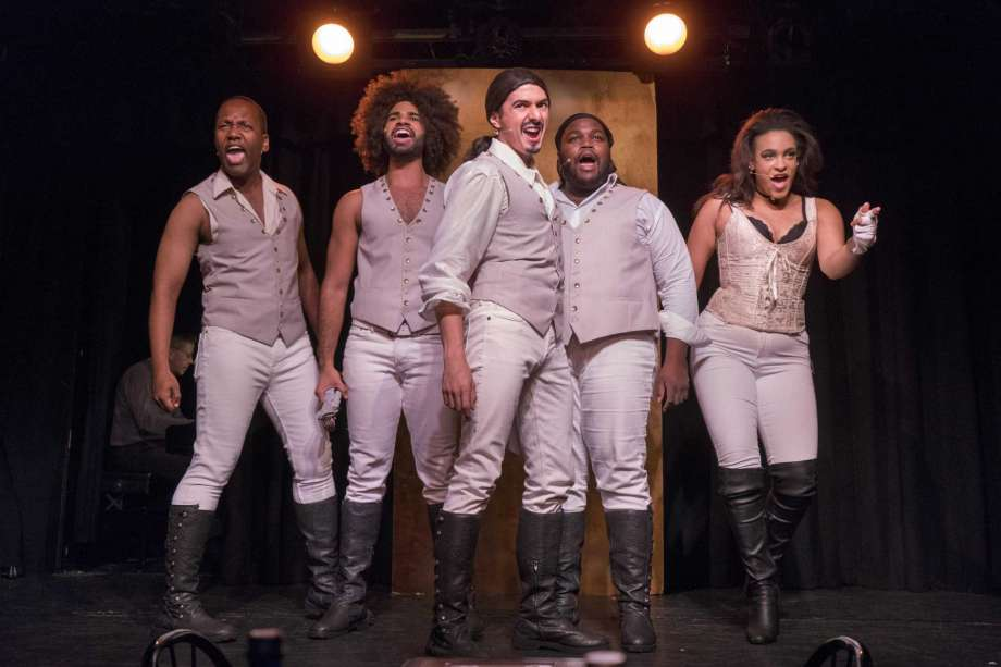 """Juwan Crawley, second from right, in """"Spamilton"""""""