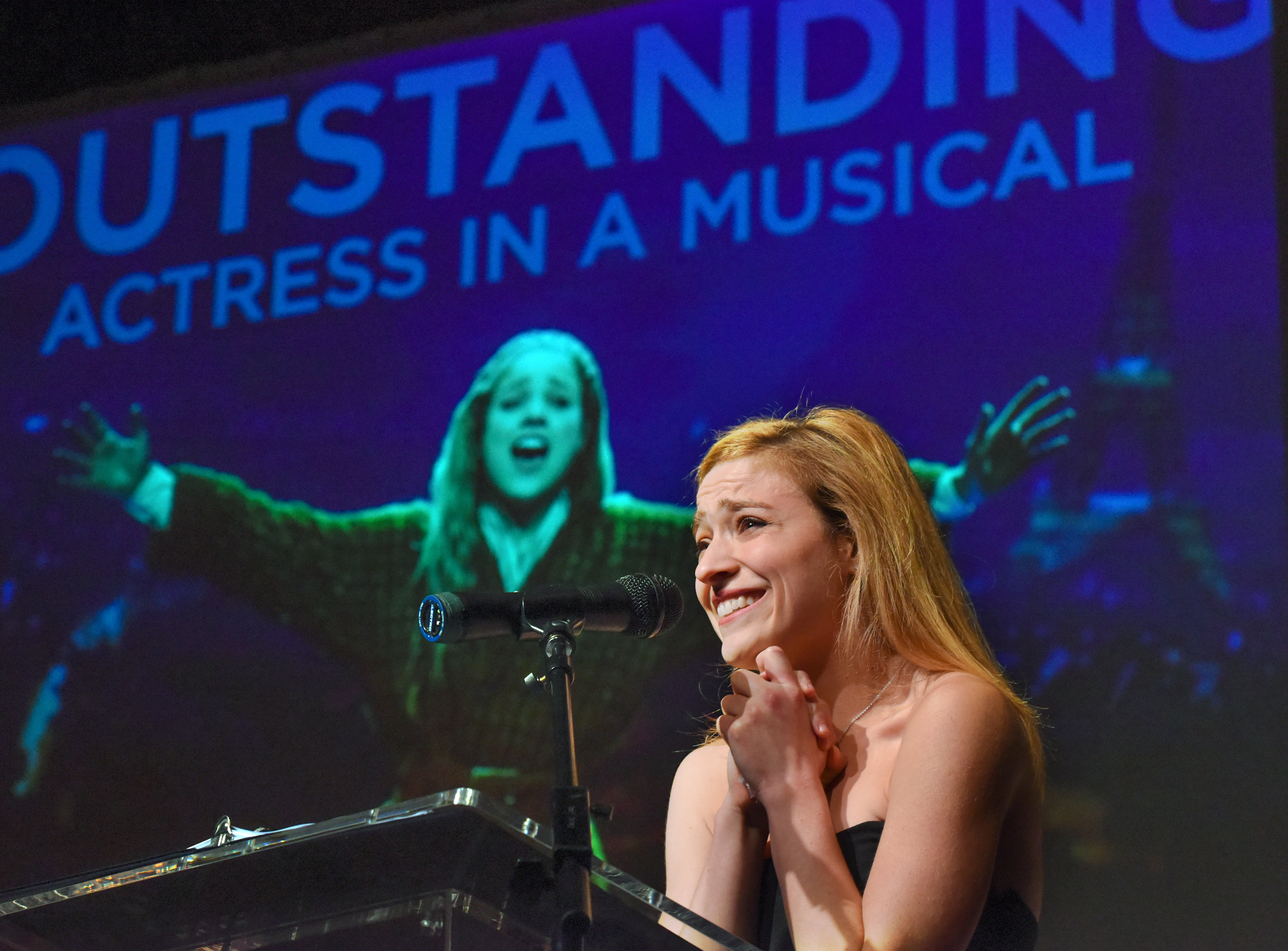 "From last year's awards event: Christy Altomare receiving her outstanding actress in a musical award for Hartford Stage's ""Anastasia."" She and the show are now on Broadway."