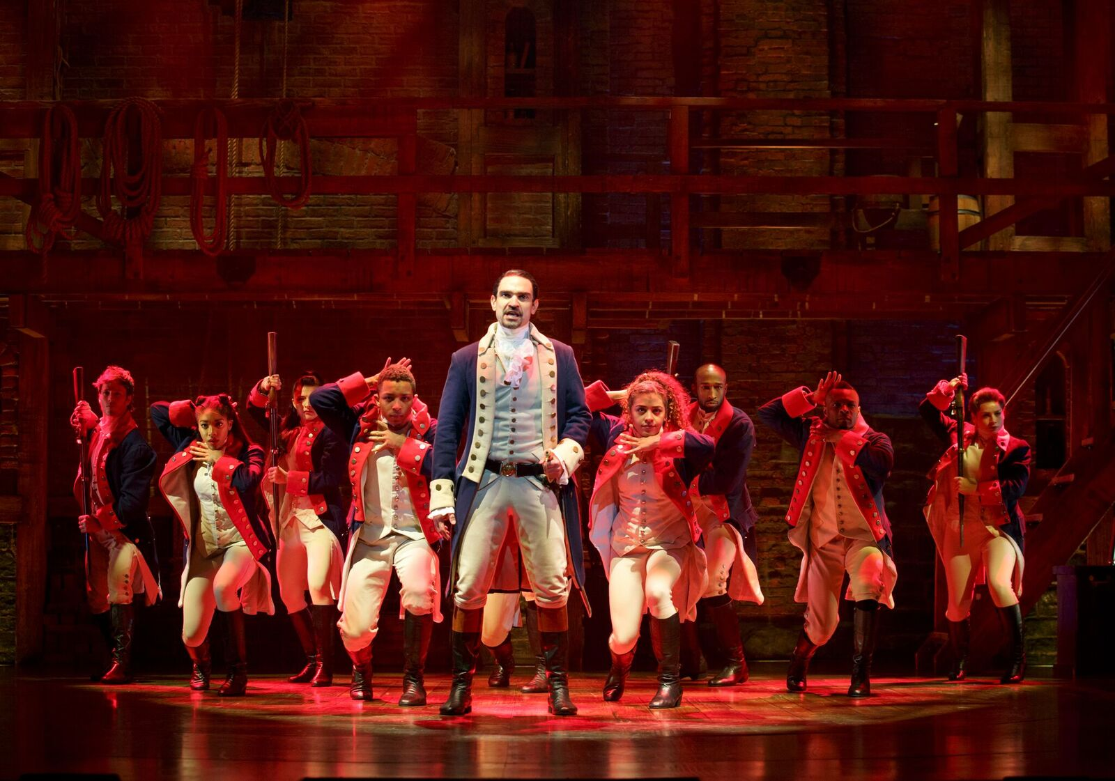 """A scene from the current Broadway production of """"Hamilton."""" Photo by Joan Marcus."""