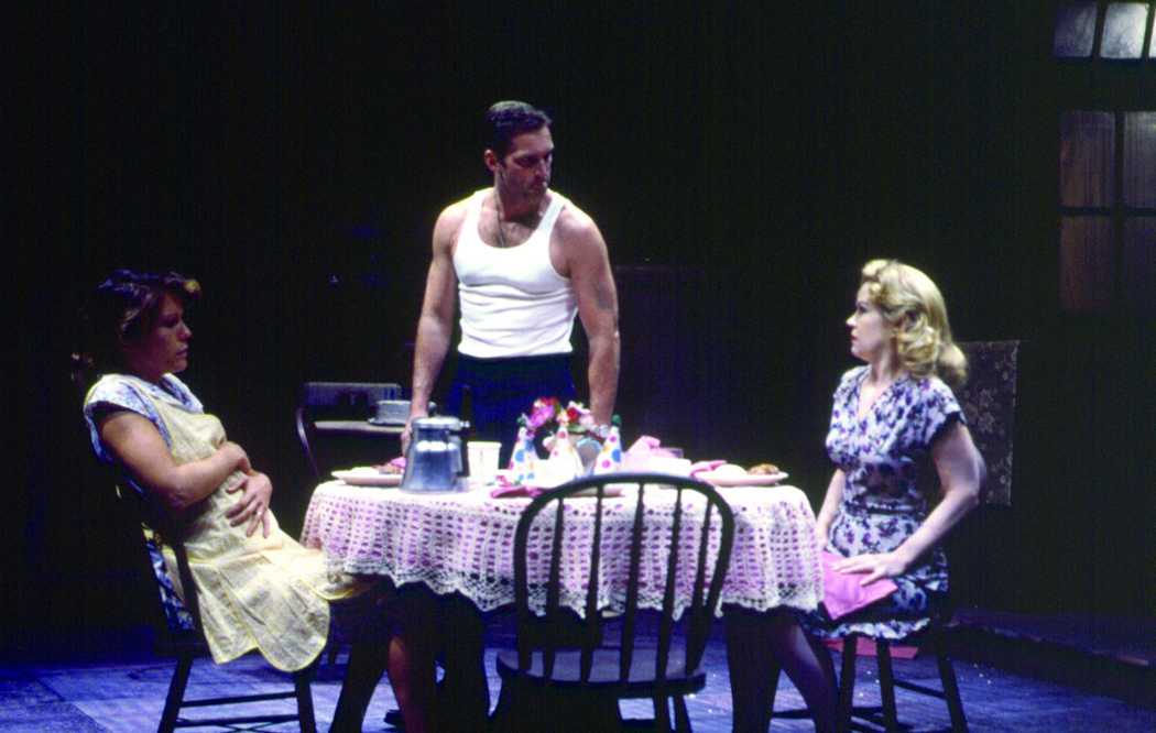 "Alyssa Bresnahan, James Colby and Annalee Jefferies in ""A Streetcar Named Desire"" at Hartford Stage"