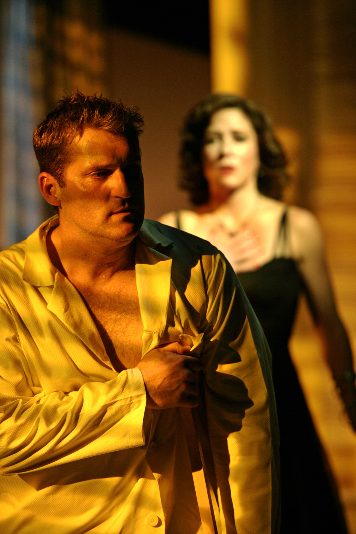 "James Colby and Alyssa Bresnahan in ""Cat on a Hot Tin Roof"" at Hartford Stage"