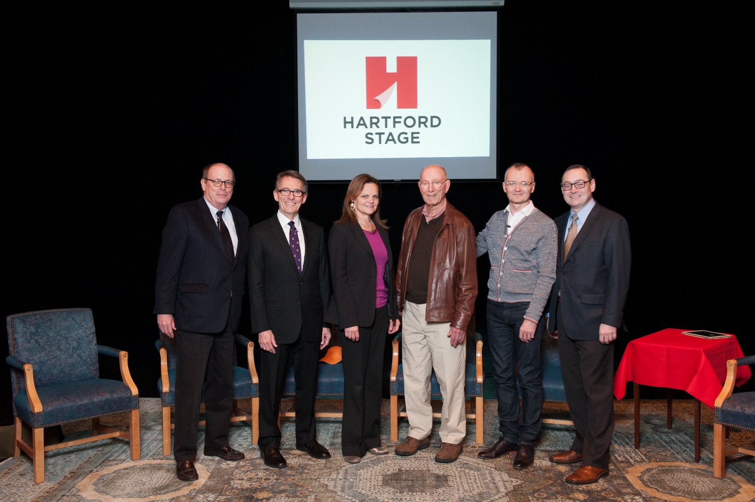 Left to right: David Hawkanson, former managing director; Mark Lamos, former artistic director; Teresa Eyring, executive director of Theatre Communications Group; Jacques Cartier, founding artistic director; Darko Tresnjak and Michael Stotts, current managing director of Hartford Stage.