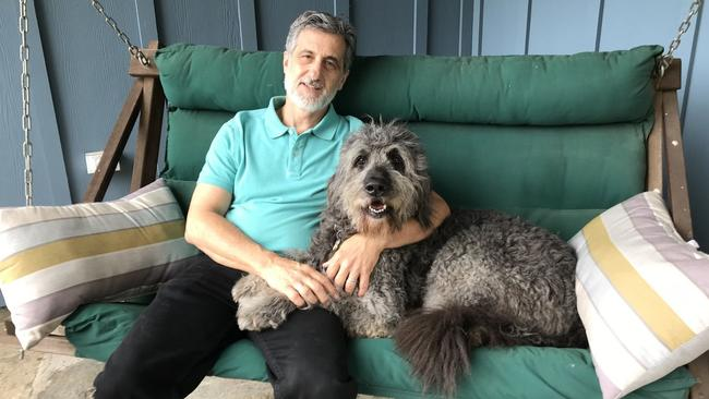 "Bill Berloni and ""Bowdie"" who will star in ""Because of Winn Dixie"" at Goodspeed Opera House next summer.,"