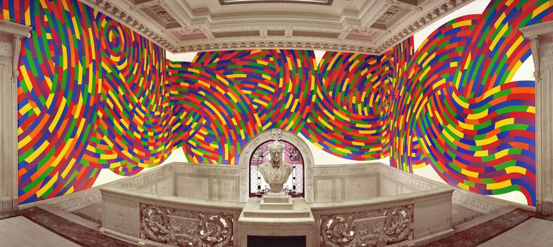 This Sol LeWitt, acrylic paint wall drawing #1131, titled Whirls and Twirls, is at the Wadsworth Atheneum Museum of Art. It measures 18 feet 9 inches by 113 feet 9 inches. (Courtesy of Wadsworth Atheneum
