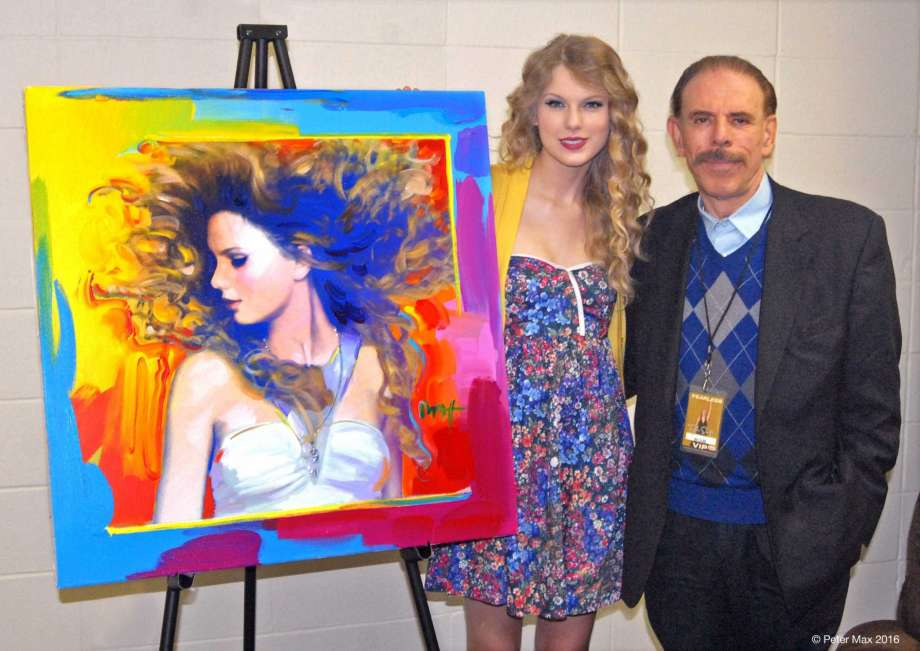 Peter max and unidentified woman in 2016