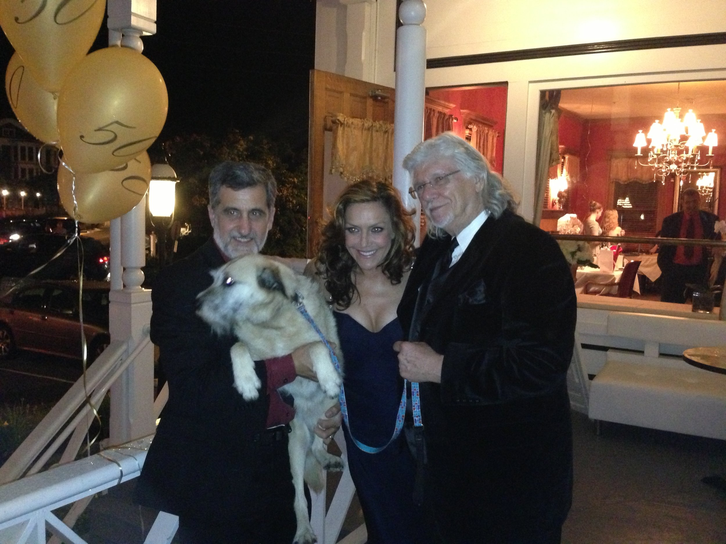 "Animal trainer Bill Berloni,, Andrea McArdlke and Martin Charnin at a Goodspeed celebration of ""Annie"" . Photo by Frank Rizzo."