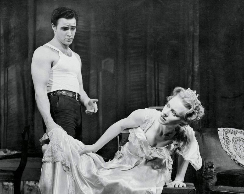 """Marlon Brando and Jessica Tandy in the Broadway production of """"A Streetcar Named Desire"""""""