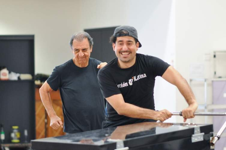 """Emilio Delgado and Juan Manuel Amador in rehearsal for """"Quixote Nuevo"""" by Octavio Solis at Hartford Stage. Photo by Liss Couch-Edwards."""